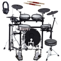 New Roland TD-25KVX V-Drums Electronic Drum Kit with Roland (Double Kick Pedal, Hi Hat Stand, Throne, Headphones), Gibraltar Snare Stand, 2 Sticks