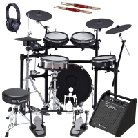 New Roland TD-25KVX V-Drums Electronic Drum Kit with Roland (Double Kick Pedal, Hi Hat Stand, Throne, Monitor, Headphones), Gibraltar Snare Stand,  2 sticks
