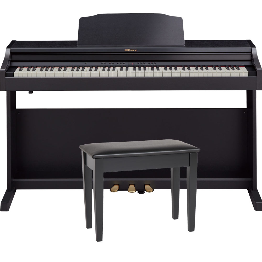 roland rp501r cbc black digital piano 88 key weighted with matching bench headphones. Black Bedroom Furniture Sets. Home Design Ideas