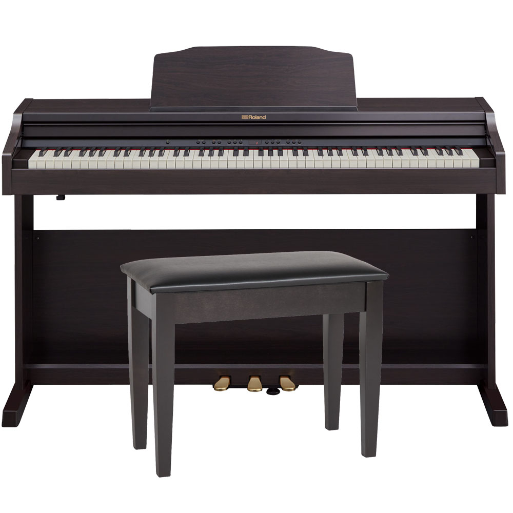 roland rp501r crc rosewood digital piano 88 key weighted with matching bench headphones. Black Bedroom Furniture Sets. Home Design Ideas