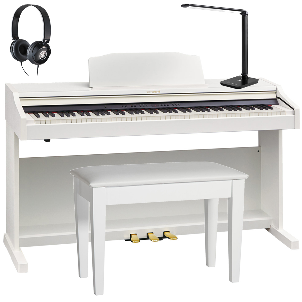 roland rp501r whc white digital piano 88 key weighted with matching bench headphones. Black Bedroom Furniture Sets. Home Design Ideas