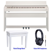 Roland F140R White 88 weighted key Digital Piano with Matching Roland Storage Bench RPB100 and Roland RH5 Headphones