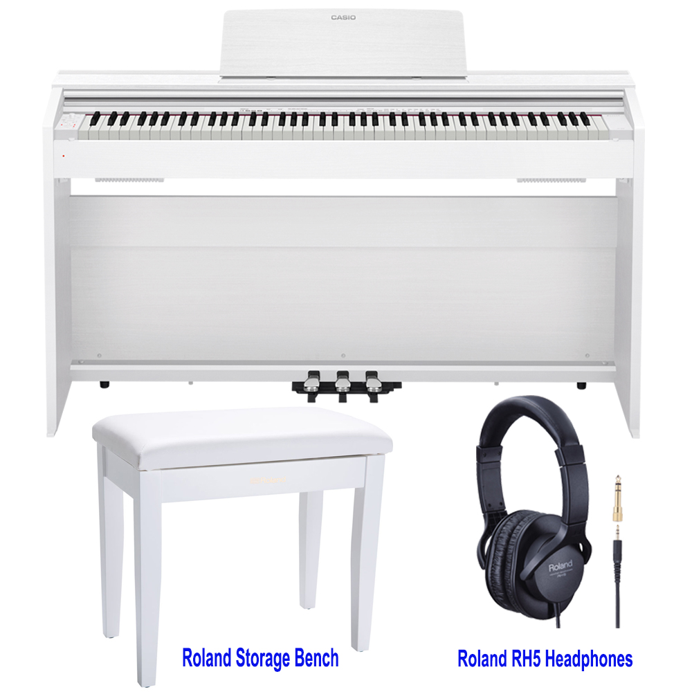 casio px870we privia home digital piano 88 key weighted with roland rpb 100wh storage bench and. Black Bedroom Furniture Sets. Home Design Ideas