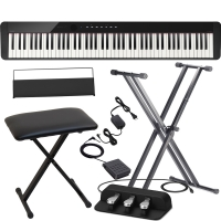 Casio PX-S1000 Privia Portable Digital Piano Black with X Stand, X Bench, Casio SP-34 (3 Pedals)