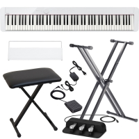 Casio PX-S1000 Privia Portable Digital Piano White with X Stand, X Bench, Casio SP-34 (3 Pedals)