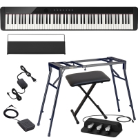 CasioCasio PX-S1000 Privia Portable Digital Piano Black with Stagg 4 legged stand, X Bench, Casio SP-34 (3 Pedal)