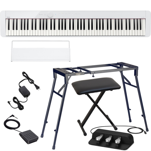 Casio PX-S1000 Privia Portable Digital Piano White with Stagg 4 legged stand, X Bench, Casio SP-34 (3 Pedal)