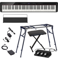 CasioCasio PX-S3000 Privia Portable Digital Piano Black with Stagg 4 legged stand, X Bench, Casio SP-34 (3 Pedal)